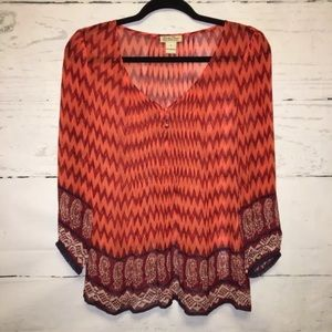 Lucky Brand Orange and Red Blouse